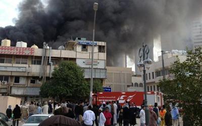 حريق ضخم في سوق واقف (سوق واچف) سوق الحريم