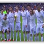 فيديو: كريستيانو رونالدو يحتفل ويقدم الكرة الذهبية لجمهور سانتياجو بيرنابيو