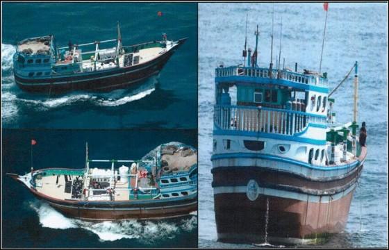 الأسلحة التي قام التحالف العربي بضبطها داخل زورق الإيراني في بحر العرب